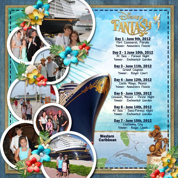 Disney Fantasy itinerary; Disney Cruise Line; DCL; layout by Cynthia Y2