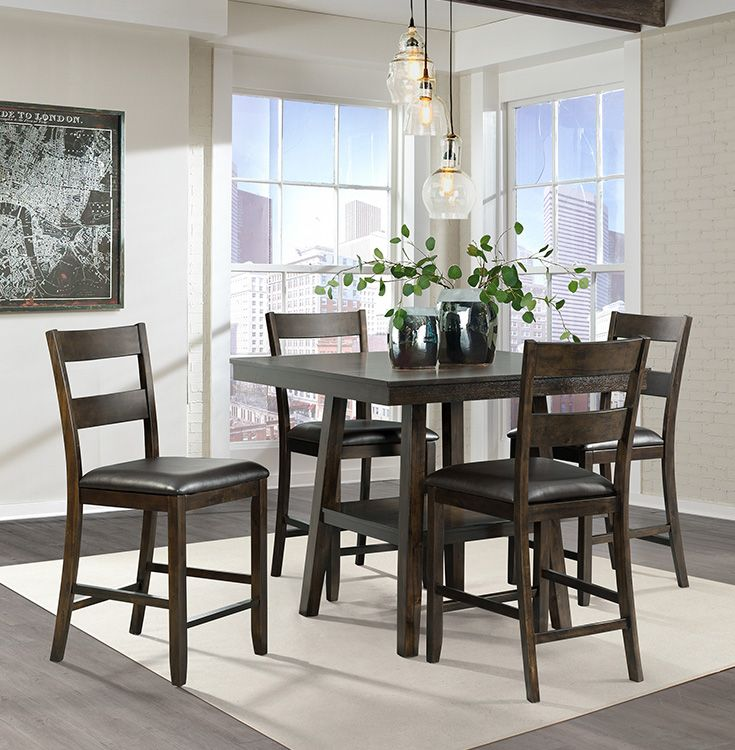 Make The Most Of Your Small Living Space With This Five Piece Counter Height Dining Set Th Counter Height Dining Sets Side Chairs Dining Dining Room Table Set