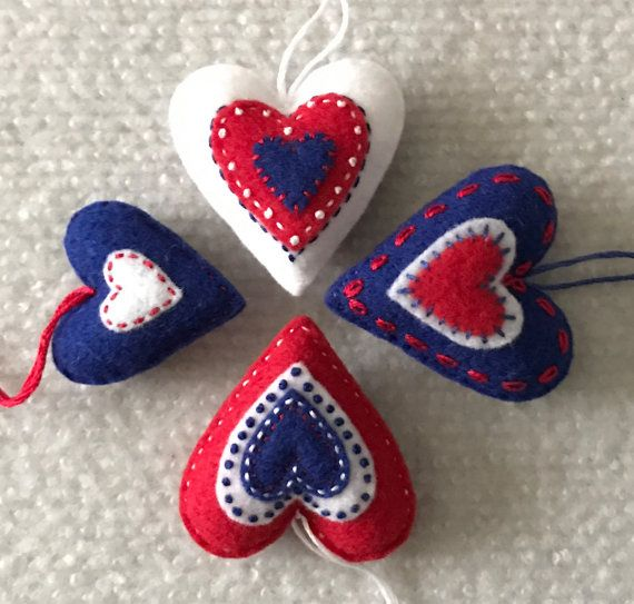 Felt heart ornaments Red, white and blue. Set of four