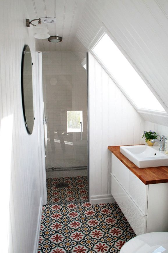 cement tile in a tiny bathroom