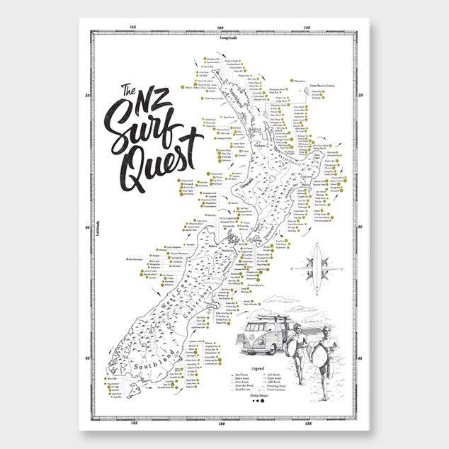 NZ Surf Quest A2 Poster