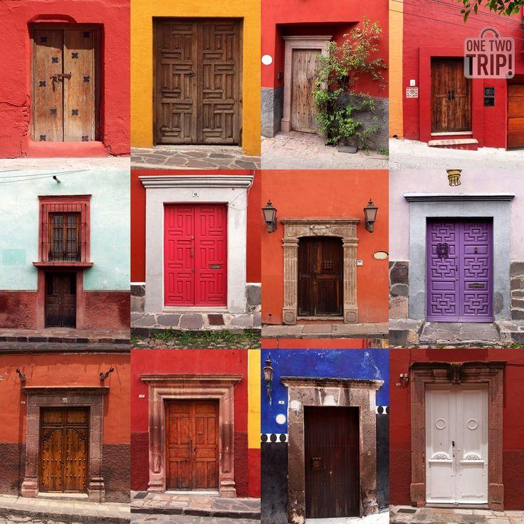 Colorido #collage de #puertas coloniales #México #onetwotrip