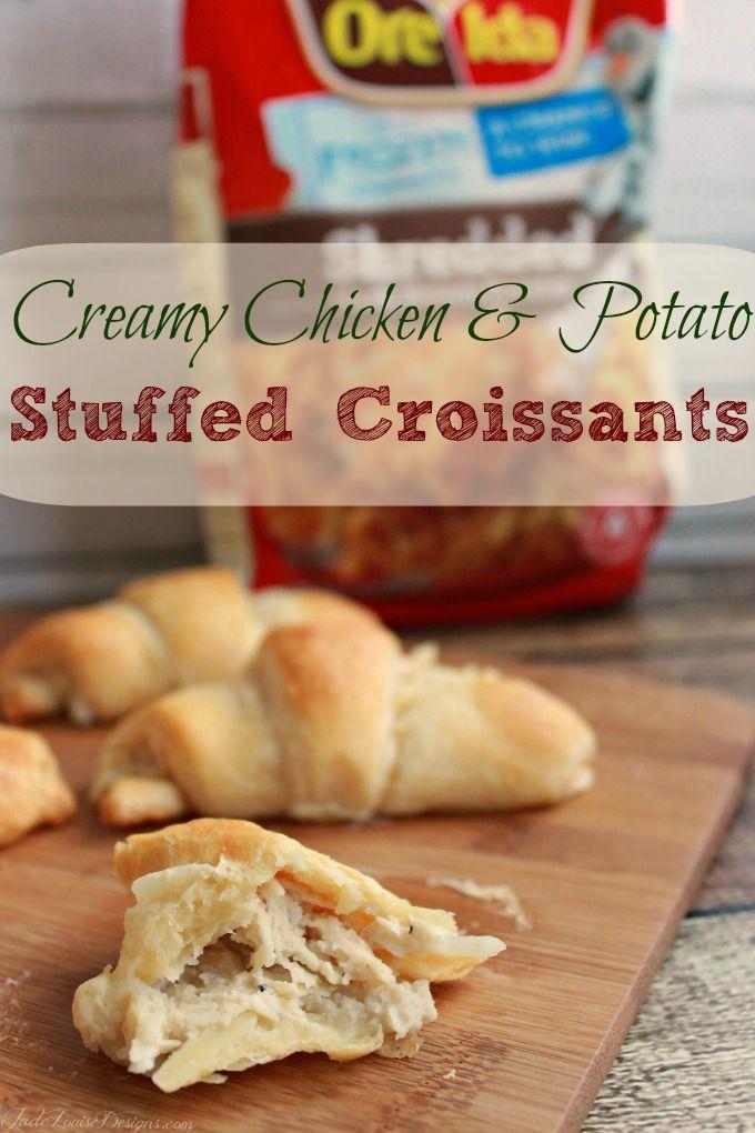 Chicken and Potato Stuffed Croissants Recipe with Ore Ida Hashbrowns #OreIdaHashbrn, #shop, #cbias #stuffedcroissants