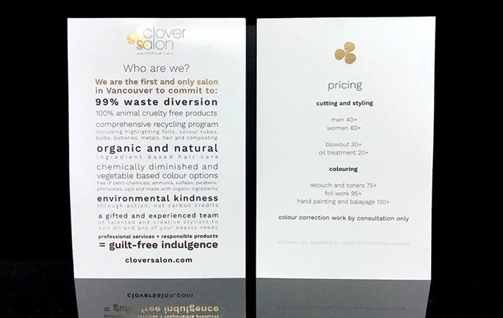 clover - earthkind salon added gold foil to their postcards to demand attention to their important message...and it worked! Adding any colour foil to your cards is easy breezy beautiful with foil effects.