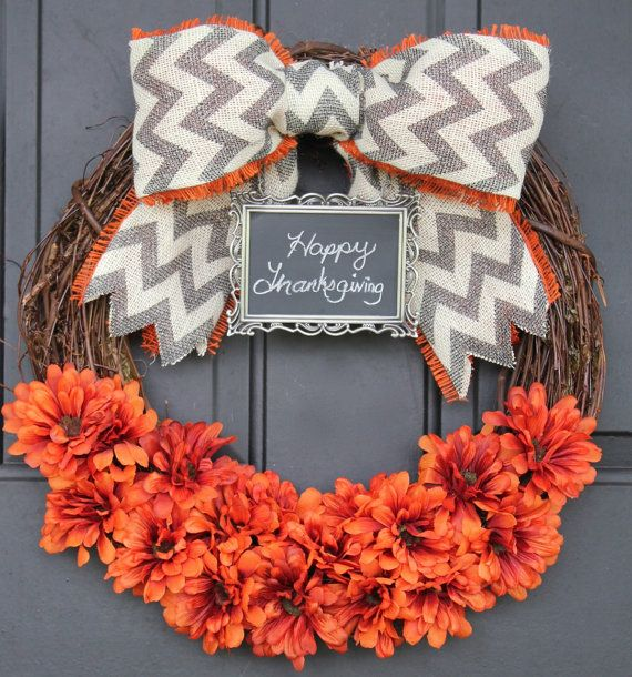 CHALKBOARD Fall Wreath Pumpkin Orange-Thanksgiving Wreath - Burlap Wreath - Monogram - Grey Chevron Bow and Chalkboard Personalize Sunflower...