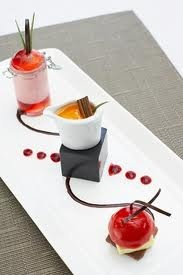gourmet food plating ideas....********* maybe do the cheesecake in the middle with height, choc. Whip with crumb underneath on one end and then ice cream in the choc cage on the other end.*********