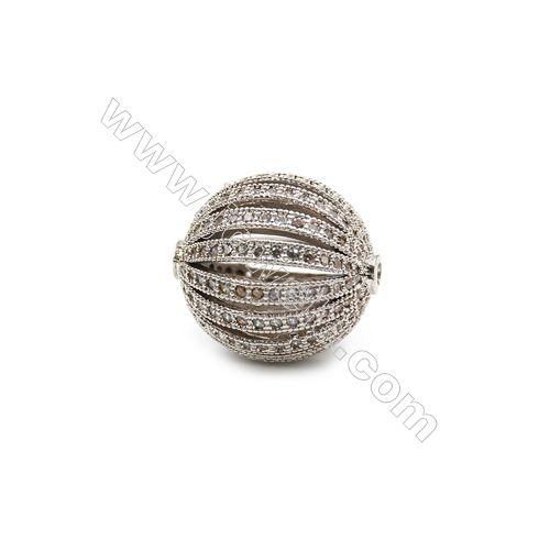 Platinum Plated Jewelry Beads Micro Pave Cubic Zirconia  Buy on -->>www.jowele.com  #Beads #Charms #Jewelry #jewelrybead #Zircon #Jowele