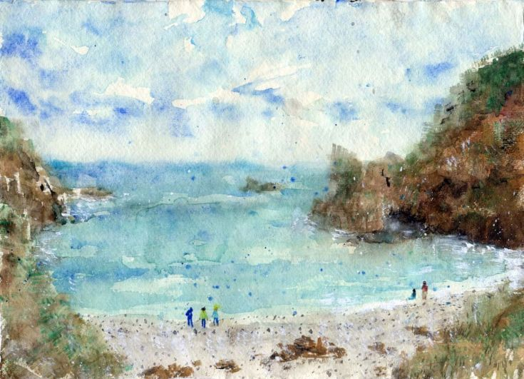 ARTFINDER: Honohoshi Beach in Amami Island, Japan by Yumi Kudo - I painted this based on the photograph I took in Amami Oshima, one of the beautiful subtropical southern islands of Japan. The beach is called Honohoshi Kai...
