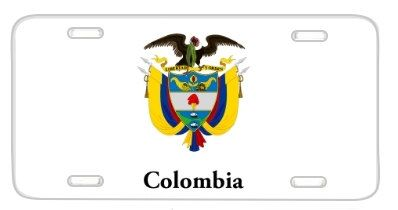 Colombia Flag Coat Of Arms License Plate Metal Wall by BlingSity, $14.95
