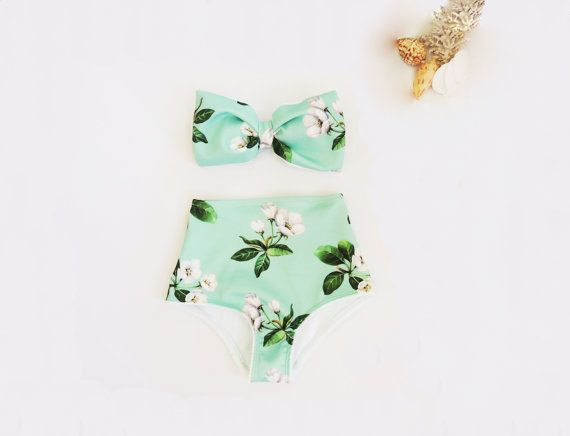 High Waisted Bow Bikini in mint green Frangipani by PitaPataDiVa