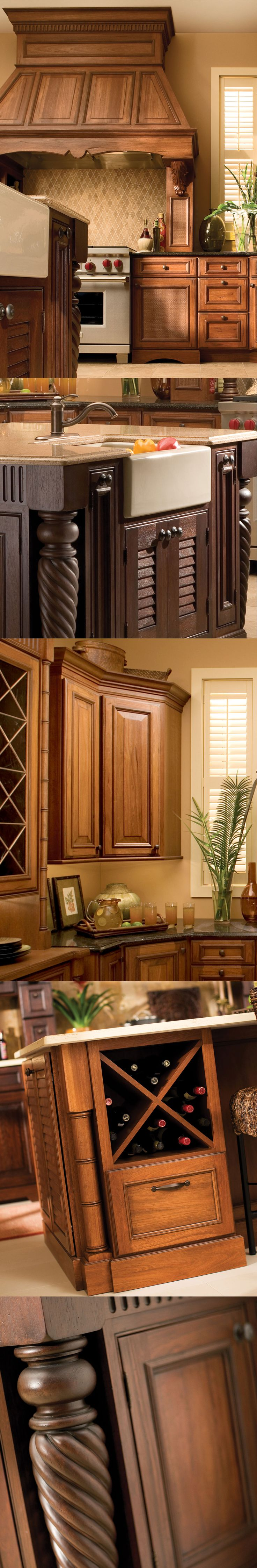 West Indies Inspired Tropical Kitchen Design, Dark, Rich Woods Are Used For the Cabinets and Door Styles. - Dura Supreme Cabinetry