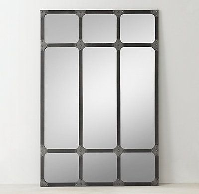 Rh Teen S Industrial Rivet Windowpane Mirror Reminiscent