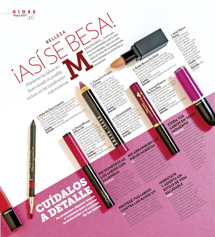 ¡Así se besa! Página para Gloss Culiacán sobre tipos de labiales y el cuidado de los labios