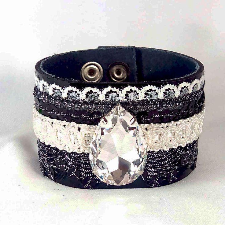Unique Real Leather Bracelet with Swarovski Drop by SteelJewelryShop on Etsy
