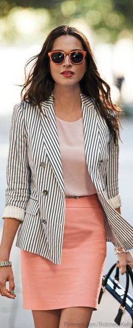 Striped Blazer and Coral Skirt