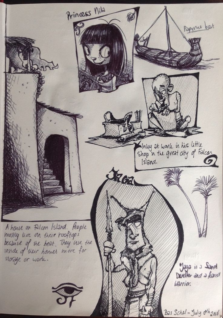 Sketchbook page with ideas and concepts for my children's story Land of the Scorpions.
