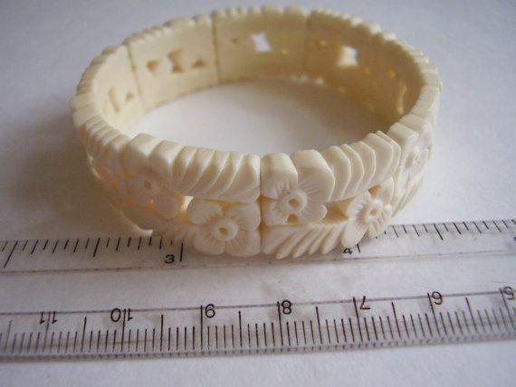 Bracelet Carved Bone Panels of Forget-Me-Not by Vintage0Sparklers