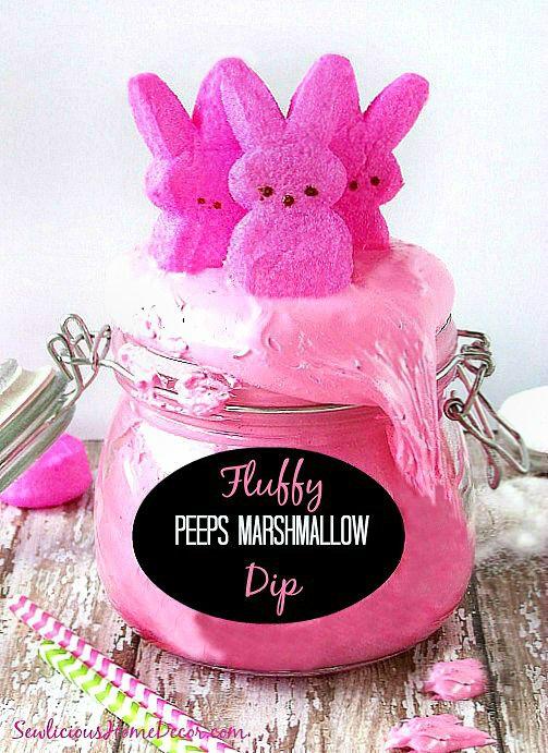 Fluffy Peeps Pink Marshmallow Dip | http://sewlicioushomedecor.com