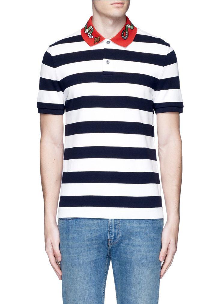 gucci polo. gucci snake and bee embroidery stripe polo shirt. #gucci #cloth #shirt gucci