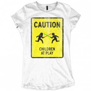 Caution! Children At Play! Lightsabers Fight! Allinclusive Apparel Ladies T-shirt