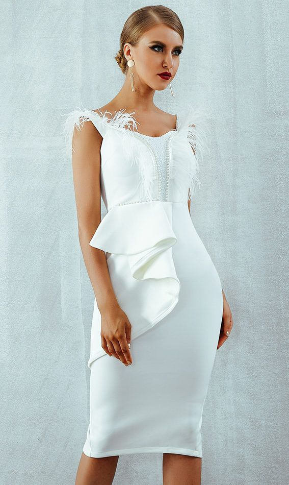 7e7152814e52 White Party Dresses Bodycon Midi Dress Whether is your friend's wedding or  any formal event Bodycon Dress, Bandage Dress, dress outfit bodycon, ...