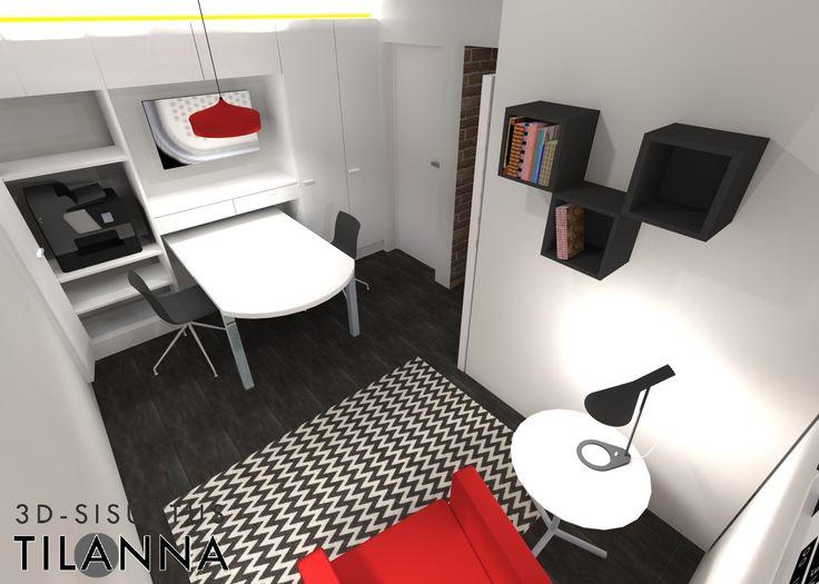 3D - sisustussuunnittelu / moderni, geometrinen puna-musta työhuone, innolux candeo kattovalaisin, Louis Poulsen AJ - pöytävalaisin, geometric red and black office / 3D-sisustus Tilanna, sisustussuunnittelija Jyväskylä