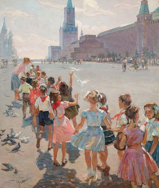 El Mausoleo. Para Ilych (У Мавзолея. К Ильичу, 1960) Evdokiya Grigorevna (Gavrilovna) Usikova (Евдокия Григорьевна Усикова. Unión Soviética. Ucrania, 1913-1996)