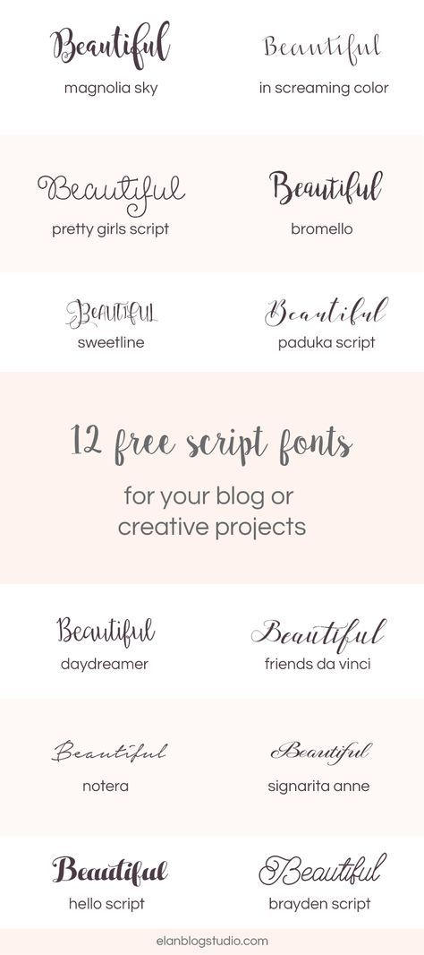 A roundup of 12 free beautiful script fonts that you can use for your blog's graphics, DIY wedding invitations or other creative projects.