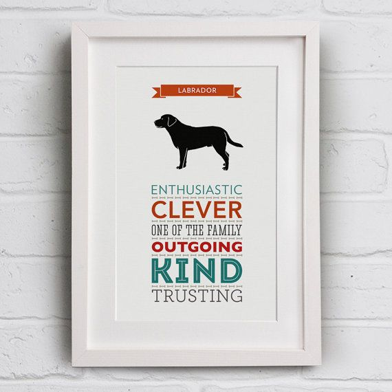 Labrador Dog Breed Traits Typography Print by WellBredDesign