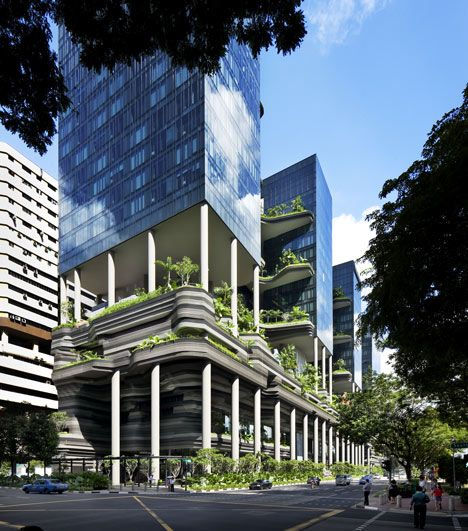 PARKROYAL on Pickering by WOHA is a 367-room hotel on the edge of Singapore's Central Business District, which features large balconies and terraces covered in 15,000 square metres of tropical plants.