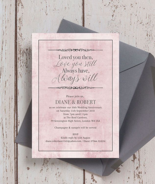 33 best wedding anniversary personalised invitations images on pastel pink quote personalised wedding anniversary party invitations loved you then love you stopboris Image collections