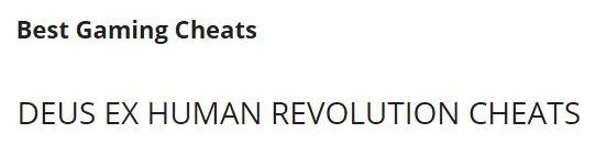 deus ex human revolution cheats