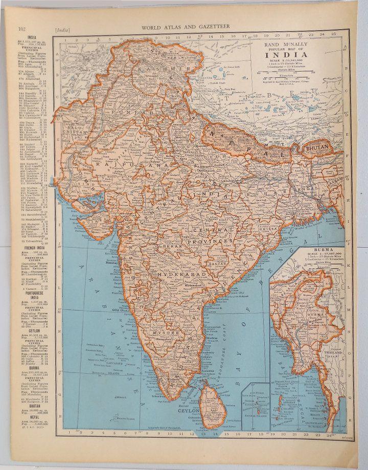 Mejores 50 imgenes de vintage maps en pinterest decoracin de vintage map of india vintage map of iran afghanistan and baluchistan on reverse side gumiabroncs Choice Image
