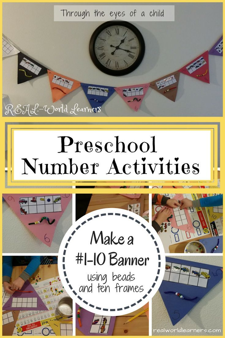 Preschool Number Activities Making A 1 10 Banner R E A L World Learners Number Activities Preschool Numbers Preschool Math Activities Preschool
