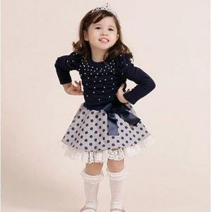 Girl's Long Sleeve T-shirts & Polka Dots Mini Skirts