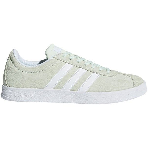 adidas VL 2.0 Court Women's Trainers ($76) ❤ liked on Polyvore featuring shoes, sneakers, aero green, adidas trainers, synthetic leather sneakers, green leather shoes, green sneakers and adidas