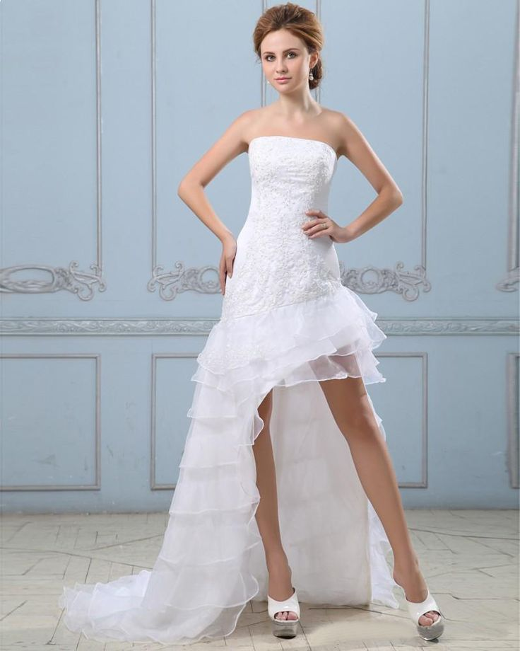 Beading Satin Organza Ruffled Short Bridal Gown Wedding ...