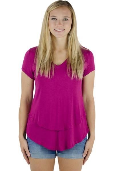 b5051a7830f8a The Latched Mama Nursing Boyfriend Tee, is the same as our beloved V-neck Nursing  Tee but with a shorter back (back is the same length as the front).