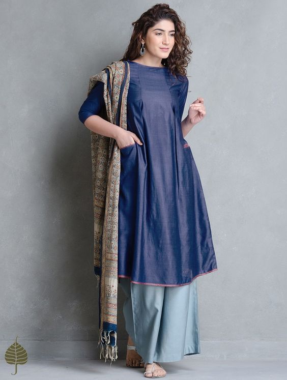 Buy Indigo Brown Tussar Munga Kurta with Pockets by Jaypore Apparel Tunics & Kurtas Online at Jaypore.com: