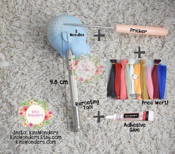 Rerooting Rehairing Tool Kit – My Little Pony Monster Ever After High OOAK Custom Blythe Barbie Doll Scalp Hair Needle Pricker & weft