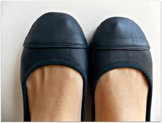 navy blue flat shoes | LUNAR- Ballet Flats - Leather Shoes - 39 - Navy Blue. Available in ...