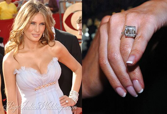 Melania Trump's expensive engagement ring. 16 carat ring, especially made with handpicked diamonds.