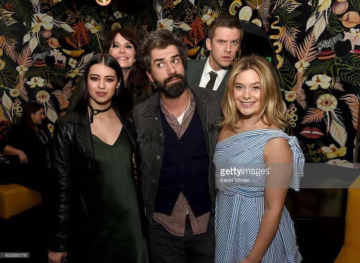 Actors Amber Midthunder, Katie Aselton, Hamish Linklater, Dan Stevens and Rachel Keller pose at the after party for the premiere of FX's 'Legion' at the Nightingale Plaza on January 26, 2017 in West Hollywood, California.
