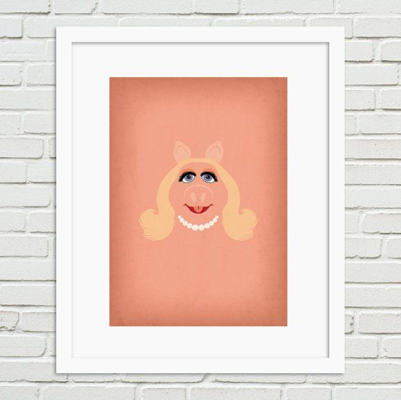 The Muppets Minimalist Poster Miss Piggy  Vintage by TheRetroInc, $14.00 Vintage Retro Minimalist Style Poster Wall Art TheRetroInc.com @The_Retro_Inc