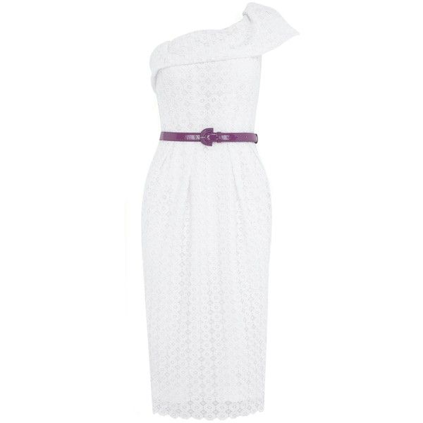 White Lace Retro Cocktail Dress ($170) ❤ liked on Polyvore featuring dresses, vintage pencil dresses, white pencil dress, one shoulder cocktail dress, white cocktail dress and summer dresses
