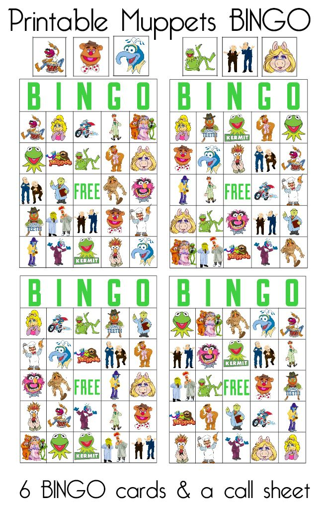 Free printable Muppets BINGO game