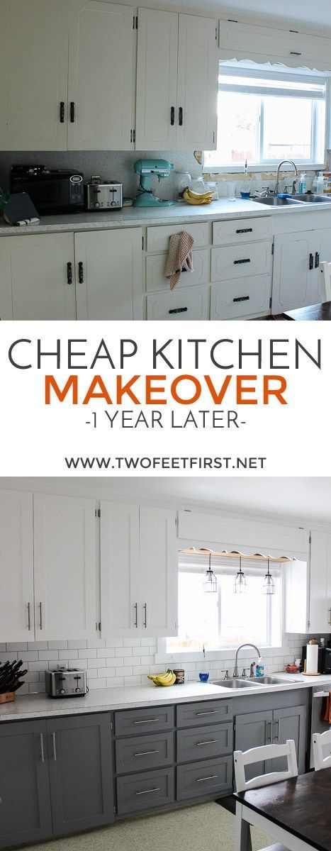 Updated Kitchen Cabinets for Cheap by painting them. See how they look one year later