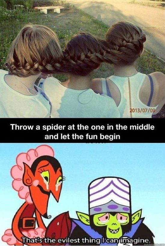 I would love to see this...yep, I'm going to hell. lol! >>> No. We're going to heaven. Because I AIN'T TOUCHIN' A REAL SPIDER!!! I'LL THROW A FAKE ONE!!!
