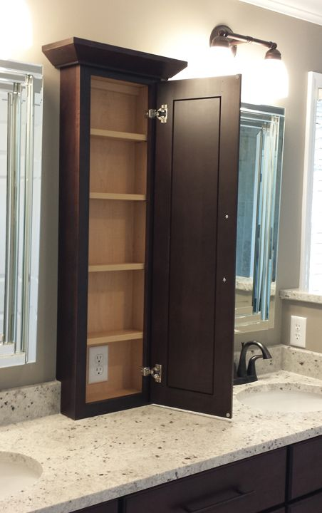 Narrow Bathroom Storage Cabinet. Not In This Dark Color Though.