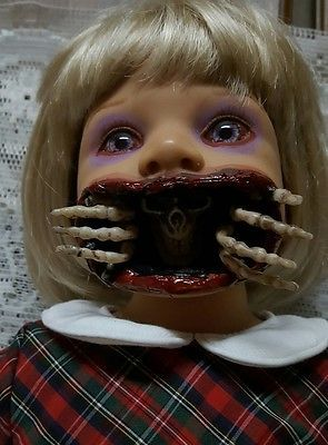 """Skeleton Out of Mouth Zombie Baby 22"""" Horror Doll Halloween Haunted House Prop"""